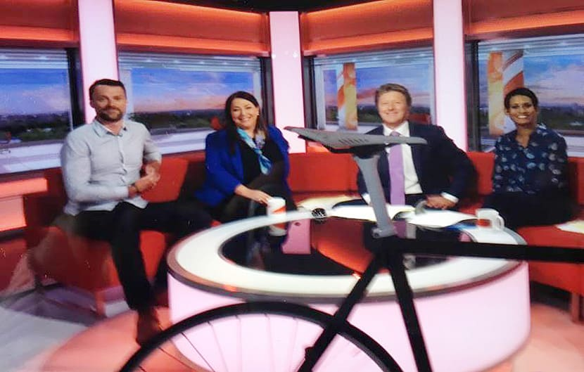 Jeanette Miller and professional cyclist Rob Hayles on the BBC Breakfast couch